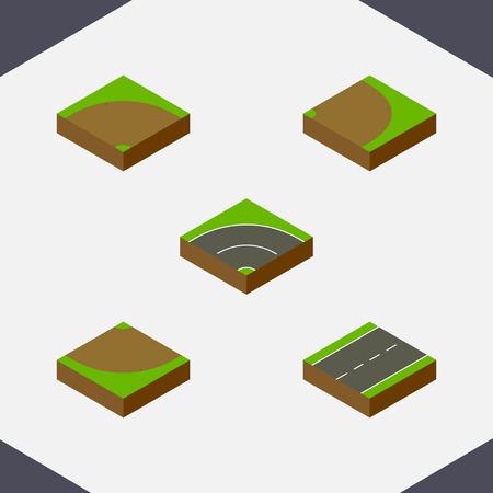 모래, 회전, 회전 벡터 객체의 아이소 메트릭 웨이 세트. 모래, 도로, 아스팔트 요소도 포함됩니다. 스톡 콘텐츠 - 81623553