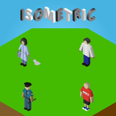 Isometric Human Set Of Housemaid, Male, Guy And Other Vector Objects. Also Includes Housekeeper, Policeman, Housemaid Elements.