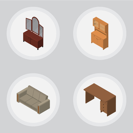Isometric Furniture Set Of Table, Couch, Drawer And Other Vector Objects. Also Includes Drawer, Sofa, Mirror Elements.