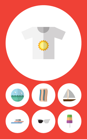 Flat Icon Season Set Of Boat, Wiper, Spectacles And Other Vector Objects. Also Includes Boat, Cloth, Ship Elements.
