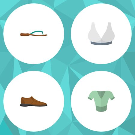 Flat Icon Garment Set Of Male Footware, Casual, Beach Sandal Vector Objects. Also Includes Flop, Clothes, Breast Elements. Illustration