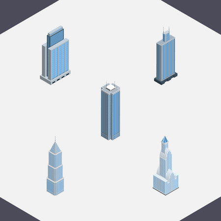 miniature: Isometric Skyscraper Set Of Skyscraper, Urban, Cityscape And Other Vector Objects. Also Includes Business, Skyscraper, Exterior Elements.
