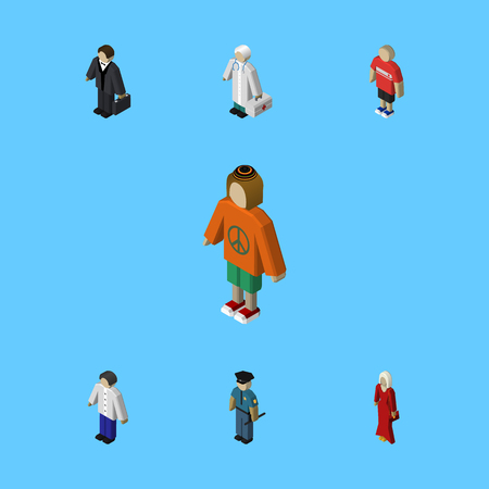 Isometric Human Set Of Guy, Investor, Officer And Other Vector Objects. Also Includes Hippie, Guy, Human Elements. Ilustração