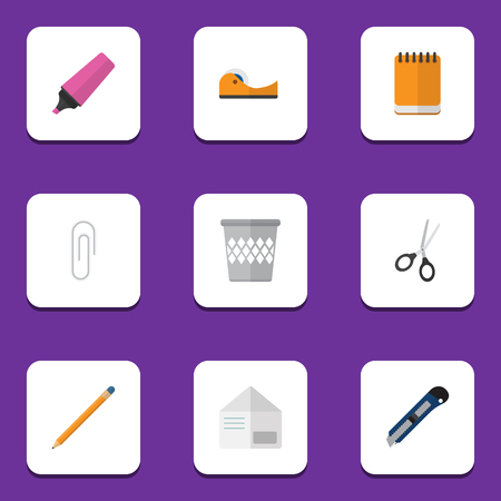 postmark: Flat Icon Stationery Set Of Notepaper, Clippers, Knife And Other Vector Objects. Also Includes Bin, Memo, Clip Elements.