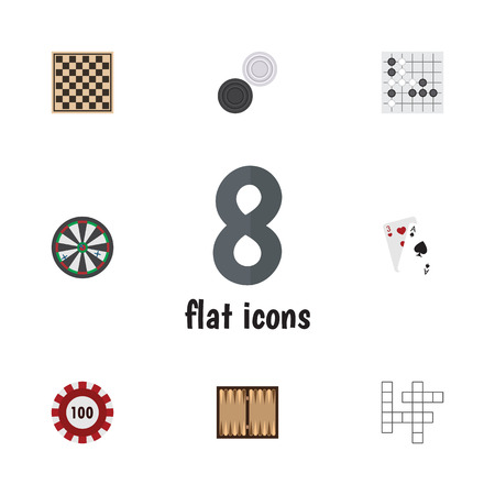 Flat Icon Entertainment Set Of Chequer, Guess, Arrow And Other Vector Objects. Also Includes Chequer, Gambling, Renju Elements.