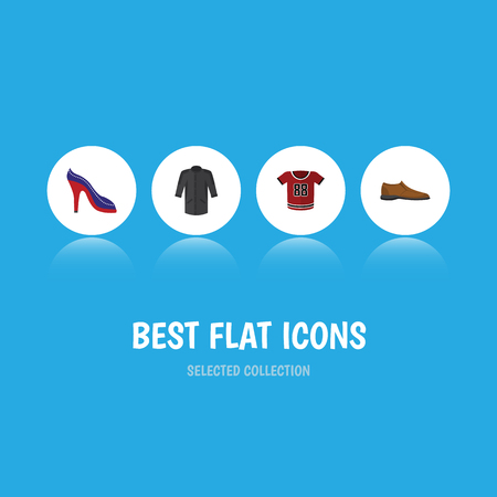 Flat Icon Dress Set Of Male Footware, Heeled Shoe, Uniform And Other Vector Objects. Also Includes Blouse, Shoes, Uniform Elements. Illustration