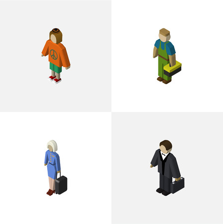 retailers: Isometric Human Set Of Investor, Plumber, Lady And Other Vector Objects. Also Includes Woman, Human, Hippie Elements.