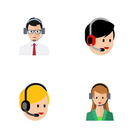 narrator: Flat Icon Center Set Of Secretary, Call Center, Help And Other Vector Objects. Also Includes Operator, Human, Call Elements. Illustration
