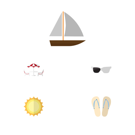 recliner: Flat Icon Summer Set Of Sunshine, Recliner, Spectacles And Other Vector Objects. Also Includes Sun, Spectacles, Sunrise Elements. Illustration