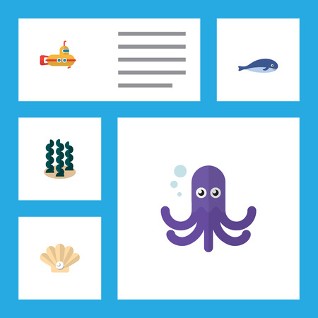Flat Icon Marine Set Of Tentacle, Conch, Cachalot And Other Vector Objects. Also Includes Underwater, Seashell, Tentacle Elements.