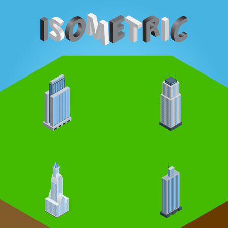 Isometric Skyscraper Set Of Business Center, Cityscape, Tower And Other Vector Objects. Also Includes Urban, Business, Apartment Elements.