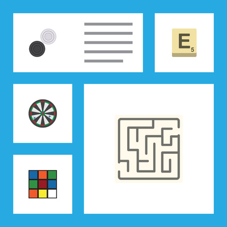 Flat Icon Play Set Of Chequer, Labyrinth, Mahjong And Other Vector Objects. Also Includes Darts, Rubik, Square Elements.