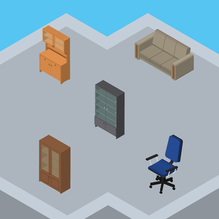 sideboard: Isometric Furnishing Set Of Cupboard, Office, Sideboard And Other Vector Objects. Also Includes Closet, Settee, Chair Elements.