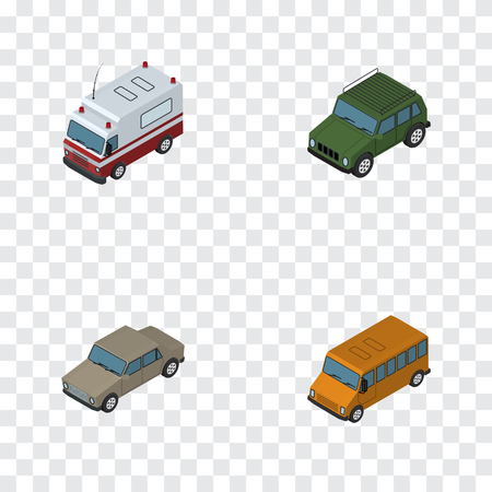 Isometric Automobile Set Of Auto, Autobus, Armored And Other Vector Objects. Also Includes Armored, Suv, Aid Elements.