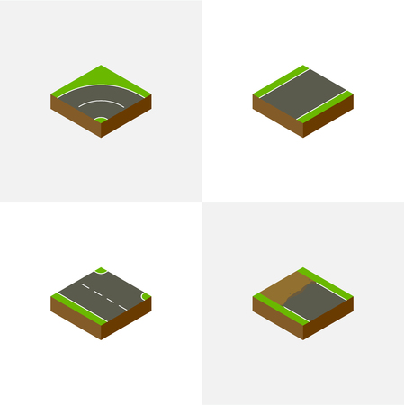 unilateral: Isometric Way Set Of Incomplete, Unilateral, Bitumen And Other Vector Objects. Also Includes Bitumen, Right, Unfinished Elements. Illustration