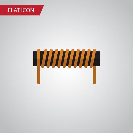 Isolated Coil Copper Flat Icon. Bobbin Vector Element Can Be Used For Bobbin, Coil, Copper Design Concept. Illustration