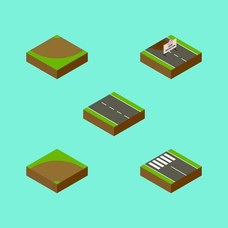 아이소 메트릭도 복구, 단일 레인, 모래 벡터 객체의 설정. 또한 레인, 스트립, 보행자 요소가 포함되어 있습니다. 일러스트