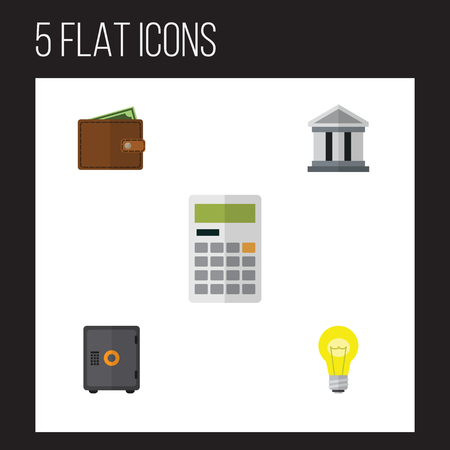 Flat Icon Finance Set Of Bank, Billfold, Bubl And Other Vector Objects. Also Includes Building, Strongbox, Safe Elements. Иллюстрация