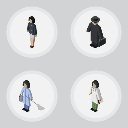Isometric Person Set Of Housemaid, Girl, Detective And Other Vector Objects. Also Includes Housemaid, Detective, Housekeeper Elements. Illustration