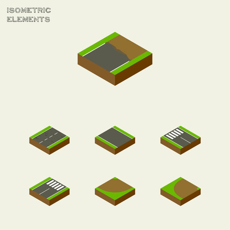 Isometric Way Set Of Turning, Turn, Cracks And Other Vector Objects. Also Includes Strip, Pedestrian, Earthquake Elements.