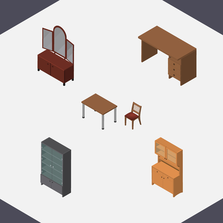 Isometric Furnishing Set Of Drawer, Cupboard, Table And Other Vector Objects. Also Includes Mirror, Closet, Cupboard Elements. Illustration