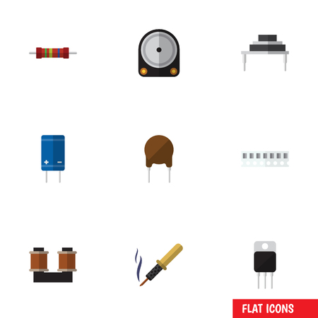 Flat Icon Electronics Set Of Transistor, Destination, Repair And Other Vector Objects. Also Includes Destination, Set, Spool Elements.