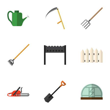 Flat Icon Farm Set Of Tool, Hacksaw, Bailer And Other Vector Objects. Also Includes Barrier, Blade, Can Bailer Elements.