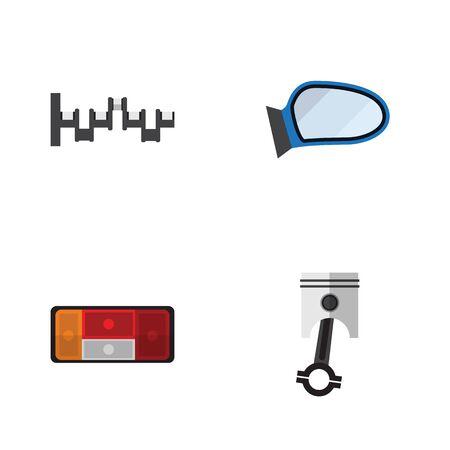 Flat Icon Auto Set van koplamp, Steels schachten, Conrod en andere Vectorobjecten. Bevat ook spiegel, assen, auto-elementen.