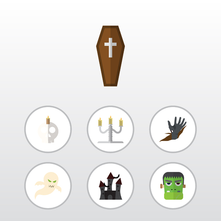 Flat Icon Celebrate Set Of Candlestick, Monster, Fortress Vector Objects. Also Includes Hand, Phantom, Vampire Elements.