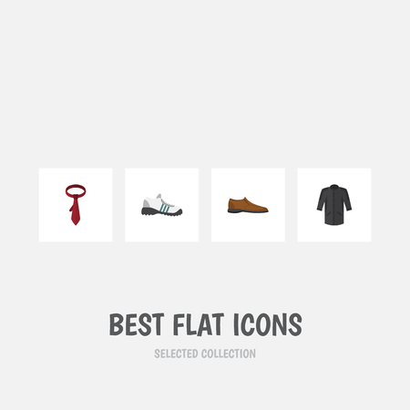 Flat Icon Clothes Set Of Sneakers, Uniform, Male Footware And Other Vector Objects. Also Includes Sneakers, Shoe, Footware Elements.