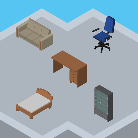 sideboard: Isometric Design Set Of Table, Bedstead, Couch And Other Vector Objects. Also Includes Couch, Sideboard, Sofa Elements.