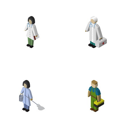 Isometric Person Set Of Doctor, Plumber, Medic And Other Vector Objects. Also Includes Hospital, Housekeeper, Housemaid Elements.