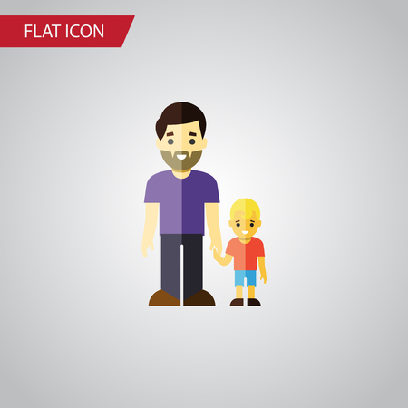 Isolated Father Flat Icon. Son Vector Element Can Be Used For Father, Son, Family Design Concept. Ilustração