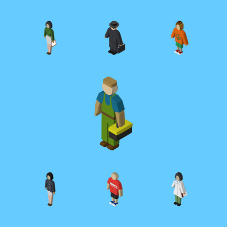 Isometric Person Set Of Girl, Doctor, Pedagogue And Other Vector Objects. Also Includes Boy, Hippie, Agent Elements.