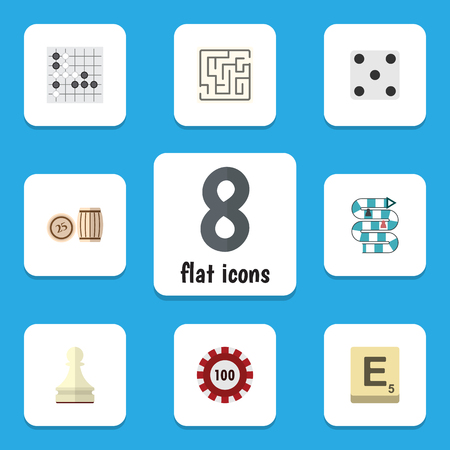 Flat Icon Games Set Of Mahjong, Poker, Labyrinth And Other Vector Objects. Also Includes Table, Backgammon, Renju Elements. Illustration