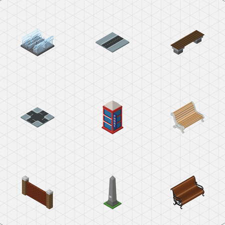 Isometric Architecture Set Of Dc Memorial, Intersection, Phone Box And Other Vector Objects. Also Includes Seat, Crossroad, Park Elements.