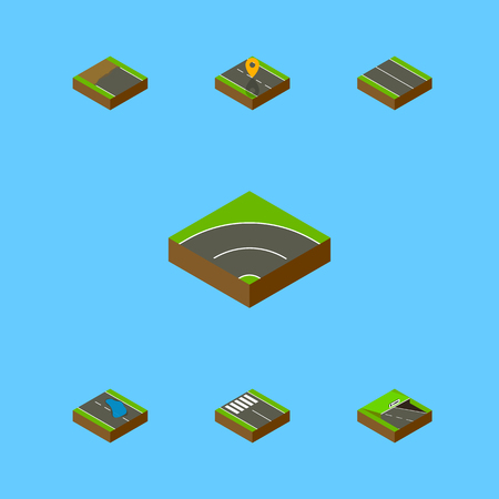 Isometric Road Set Of Underground, Flat, Strip And Other Vector Objects. Also Includes Road, Location, Puddle Elements.