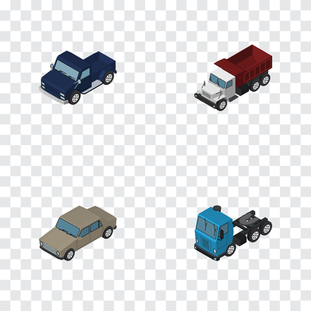 Isometric Transport Set Of Auto, Freight, Suv And Other Vector Objects. Also Includes Auto, Sedan, Lorry Elements. Illustration