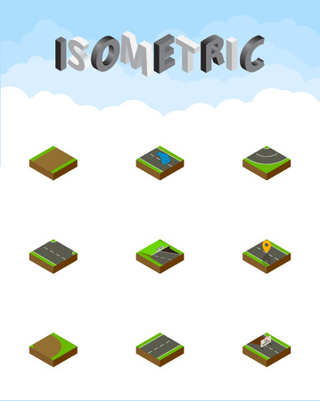 Isometric Road Set Of Rightward, Underground, Plash And Other Vector Objects. Also Includes Repairs, Highway, Lane Elements.