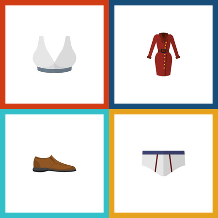 Flat Icon Garment Set Of Clothes, Male Footware, Underclothes And Other Vector Objects. Also Includes Garment, Footware, Dress Elements. Illustration