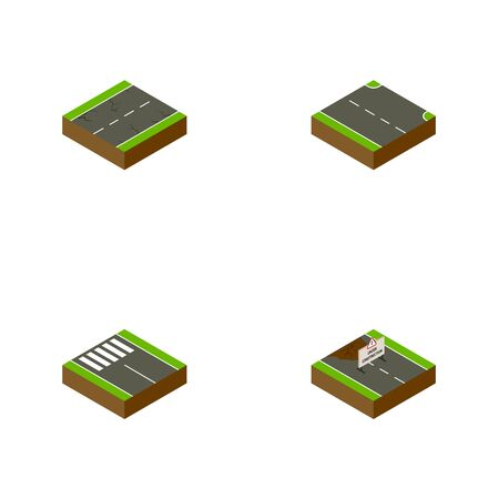 Isometric Way Set Of Cracks, Repairs, Strip And Other Vector Objects. Also Includes Earthquake, Right, Rightward Elements.