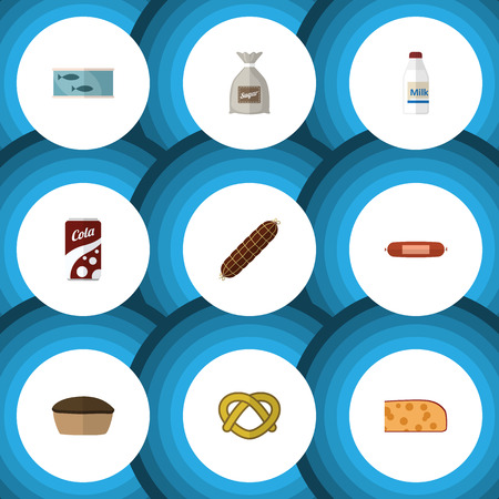 Flat Icon Eating Set Of Tart, Cheddar Slice, Sack And Other Vector Objects. Also Includes Bag, Holland, Canned Elements. Vettoriali