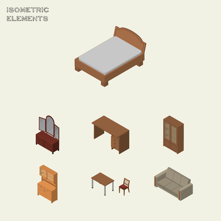 Isometric Furniture Set Of Drawer, Cabinet, Table And Other Vector Objects. Also Includes Couch, Closet, Settee Elements. Illustration