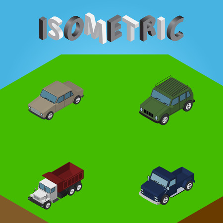 Isometric Automobile Set Of Auto, Armored, Freight And Other Vector Objects. Also Includes Suv, Truck, Freight Elements. Illustration