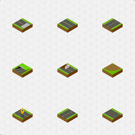 unilateral: Isometric Way Set Of Without Strip, Subway, Navigation And Other Vector Objects. Also Includes Pedestrian, Under, Single Elements.
