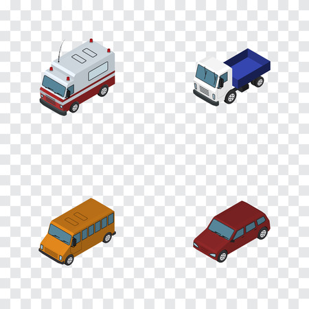 Isometric Transport Set Of Lorry, Car, Autobus And Other Vector Objects. Also Includes Drive, Auto, Aid Elements. Illustration