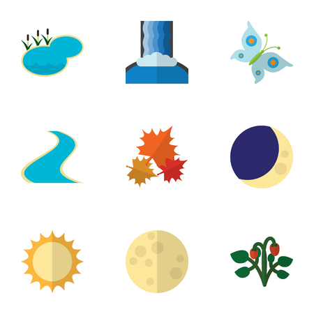 tributary: Flat Icon Bio Set Of Tributary, Canadian, Pond And Other Vector Objects. Also Includes Butterfly, Sky, Fruit Elements.