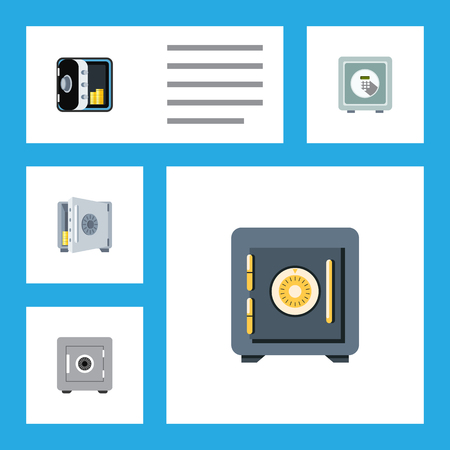 strongbox: Flat Icon Strongbox Set Of Saving, Banking, Coins And Other Vector Objects. Also Includes Safe, Strongbox, Security Elements.