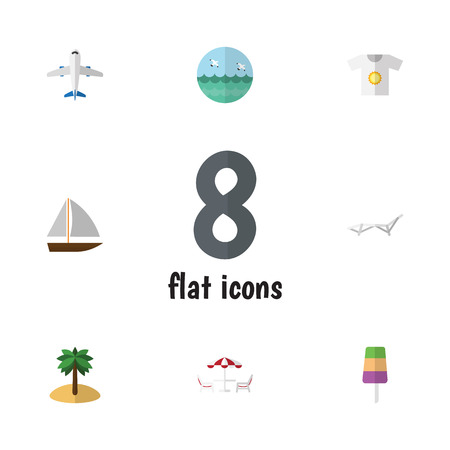 Flat Icon Season Set Of Sundae, Recliner, Coconut And Other Vector Objects. Also Includes Palm, Recliner, Yacht Elements.