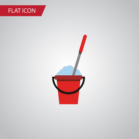 Isolated Cleaning Flat Icon. Bucket Vector Element Can Be Used For Bucket, Mop, Cleaning Design Concept. Illustration